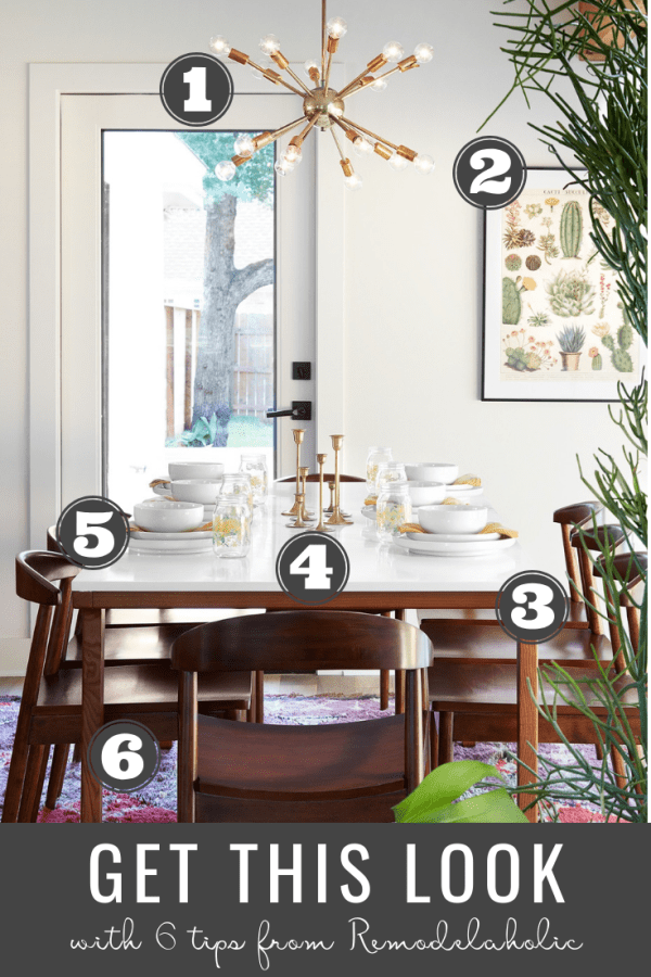 Get This Look: Mid-Century Modern Fixer Upper Dining Room From The Safe Gamble House #getthislook #remodelaholic