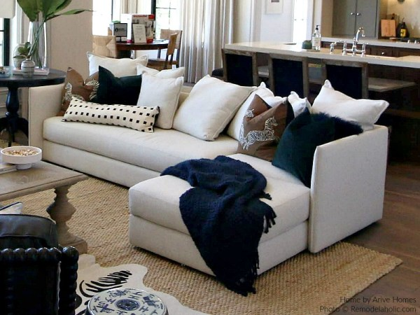 Stain Resistant White Sectional In Modern Farmhouse Great Room