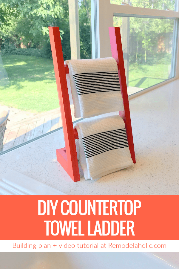 How To Build A DIY Countertop Towel Ladder, Like A Mini Blanket Ladder To Hold Hand Towels In The Kitchen Or Bath #remodelaholic