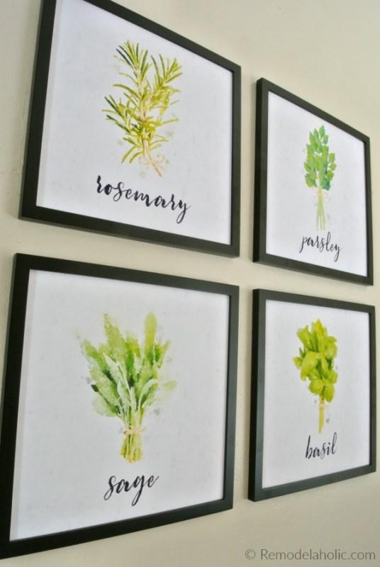 Printable 12x12 Watercolor Herb Kitchen Art Set Digital Download #remodelaholic