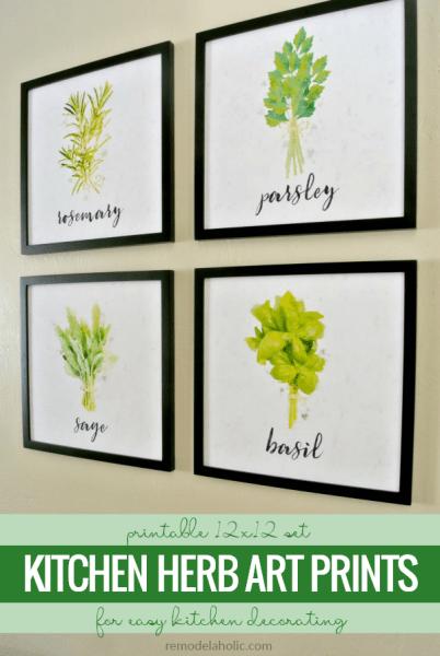 Printable Kitchen Herb Art Prints, Instant Download PDF Printable Kitchen Wall Art Set #remodelaholic