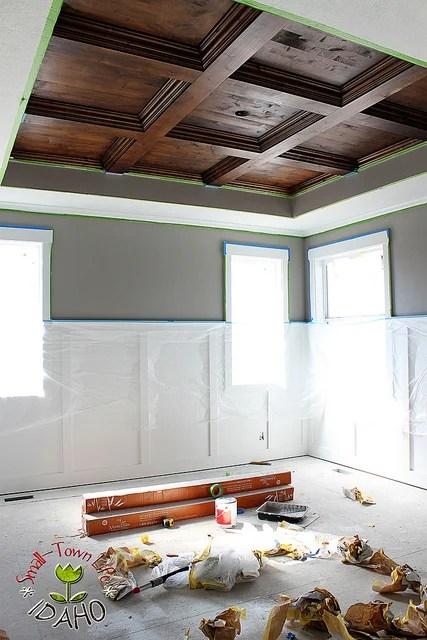 DIY Master Bedroom Wood Coffered Ceiling