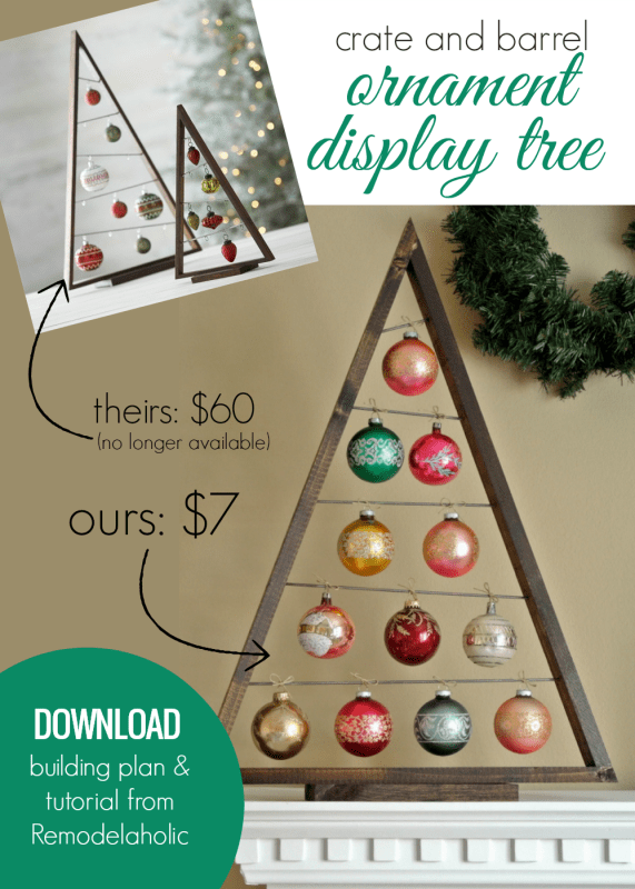 DIY Ornament Display Tree Woodworking Plan, Just Like Crate And Barrel's Sold Out Version #remodelaholic #instantdownload
