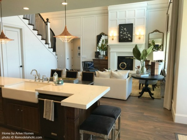Modern Farmhouse Kitchen And Great Room In Wood And White, Arive Homes And Brandalyn Dennis Design, 2018 Utah Valley Parade Of Homes, Featured On Remodelaholic