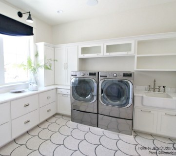 White Laundry Room With Silver Hardware And Open Cabinetry, Jerry Stubbs Construction And Tique And Company, 2018 Utah Valley Parade Of Homes Featured On Remodelaholic