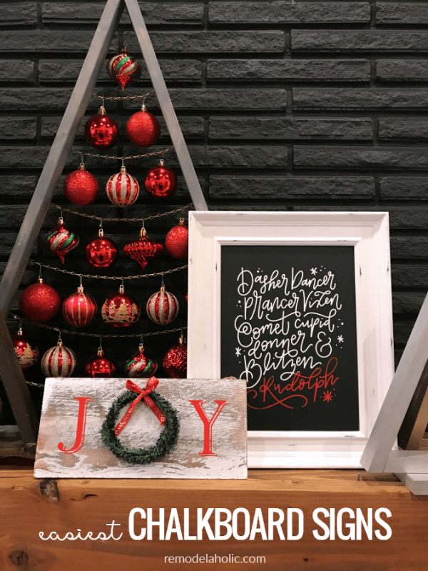 Easiest DIY Chalkboard Signs For Christmas Or Redecorate And Reuse For Every Holiday #remodelaholic