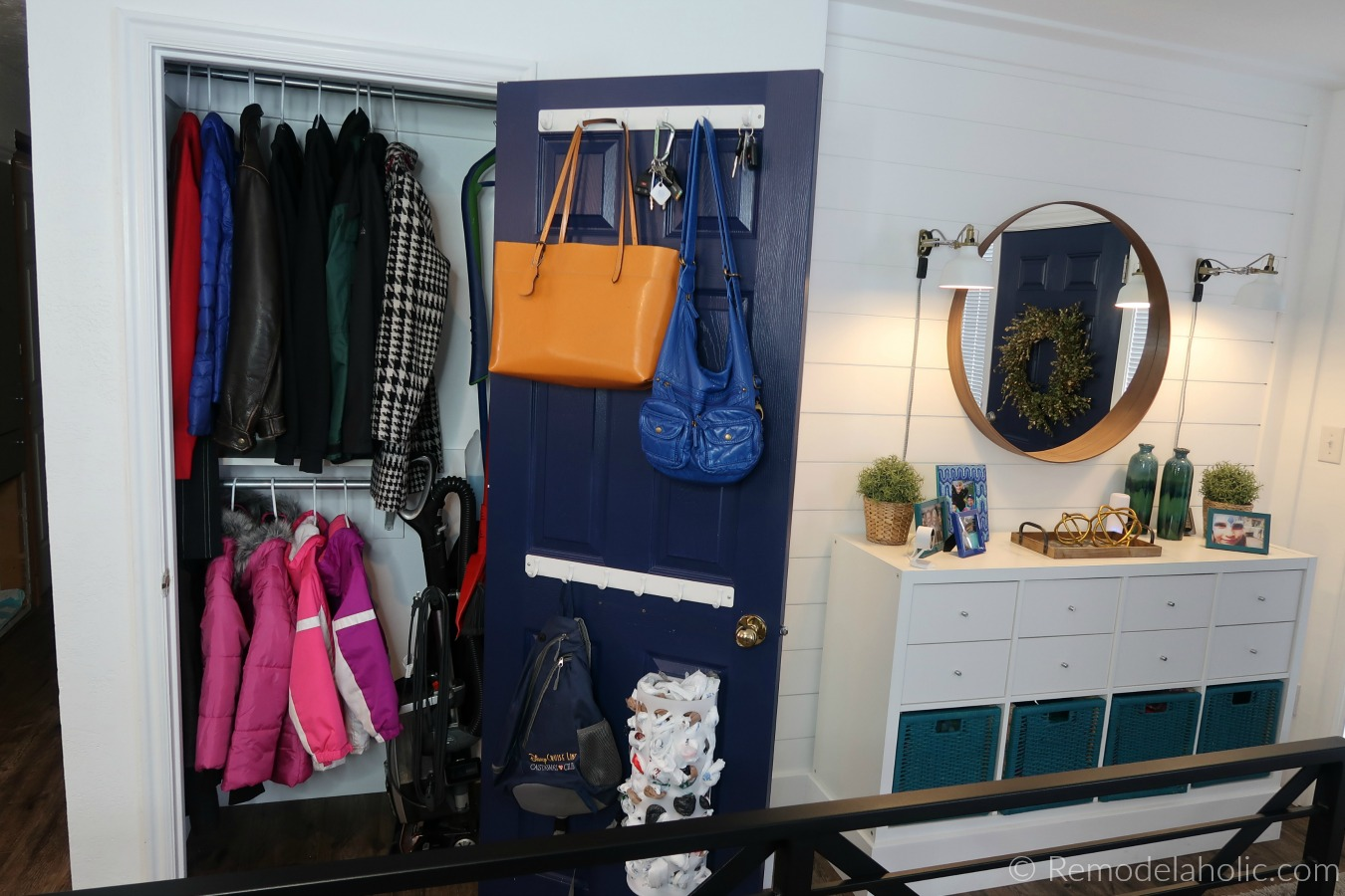 Remodelaholic Improved Small Coat Closet Organization