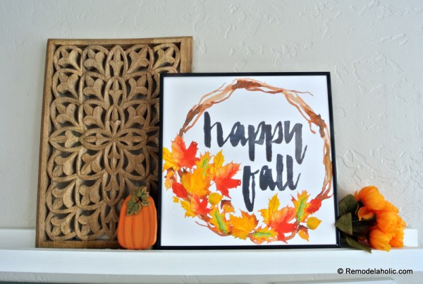 Printable Seasonal Art Set For Easy Home Decor Happy Fall Watercolor Leaf Wreath Print #remodelaholic