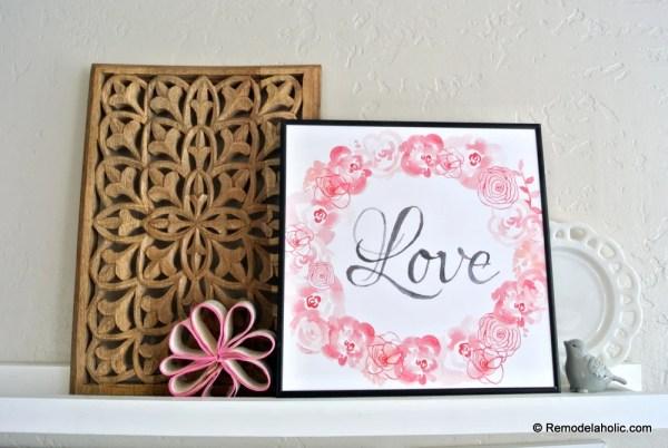 Printable Seasonal Art Set For Easy Home Decor Pink Rose Love Wreath For Valentine's Day #remodelaholic