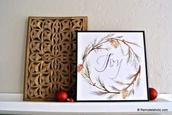 Printable Seasonal Art Set For Easy Home Decor Watercolor Winter JOY Wreath #remodelaholic