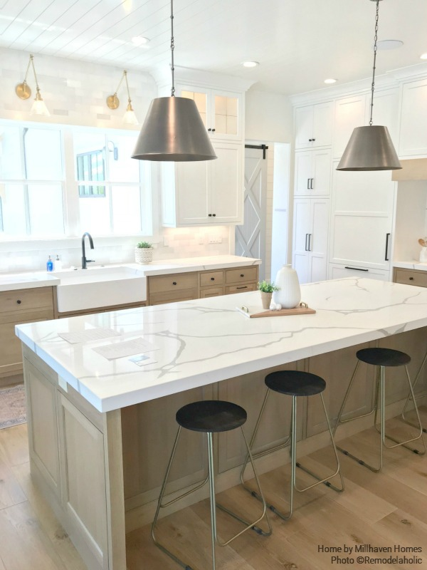 Farmhouse Kitchen With Subway Tile And Simple Wooden Cabinetry Millhaven Homes And Four Chairs Design 2018 Utah Valley Parade Of Homes Featured On Remodelaholic
