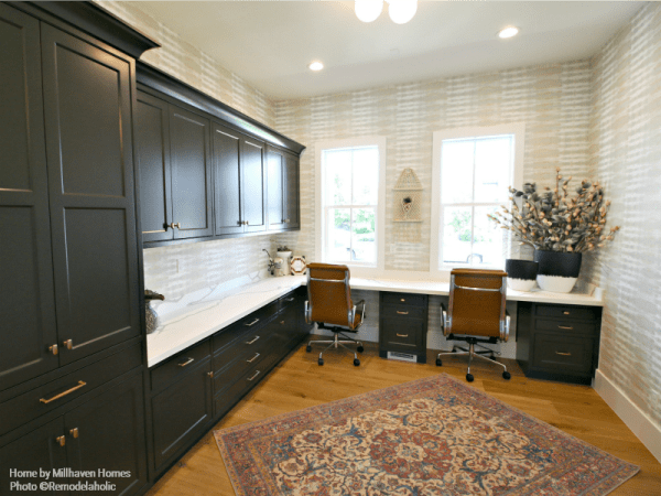 Farmhouse Style Home Office With Black Cabinetry And Patterned Wallpaper Millhaven Homes And Four Chairs Design 2018 Utah Valley Parade Of Homes Featured On Remodelaholic