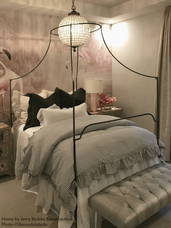 Modern Transtional Style Home, Simple Metal Four Poster Bed In Girls Bedroom Jerry Stubbs And Tique And Co 2018 Utah Valley Parade Of Homes Featured On Remodelaholic