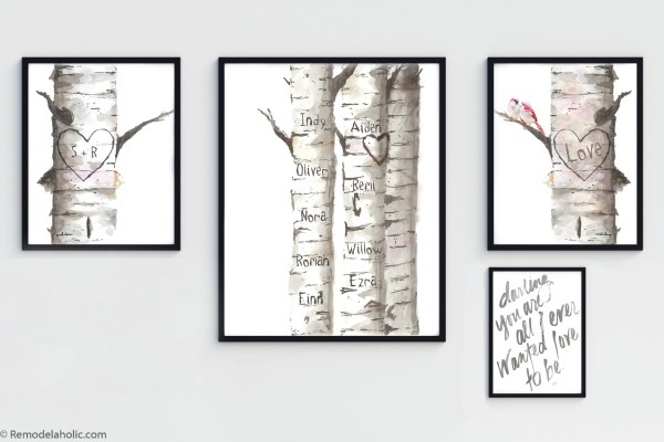 Printable Customizable Watercolor Birch Tree Bundle With Love Birds And Family Names #remodelaholic