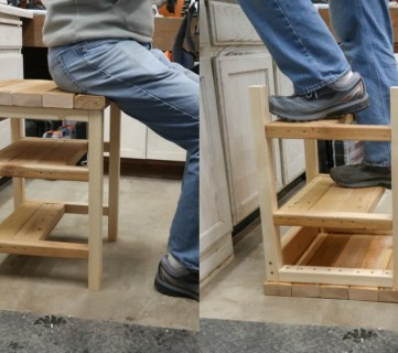 DIY Hoosier Step Stool Bar Stool That Flips To A Step Ladder #remodelaholic