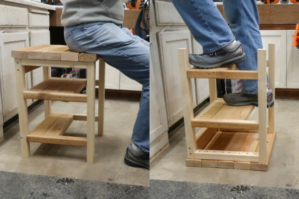 DIY Hoosier Step Stool Bar Stool That Flips To A Step Ladder #remodelaholic