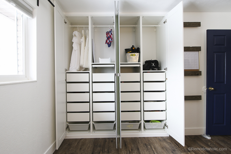 How to add an IKEA Closet Organizer to an existing closet using PAX Wardrobe and PAX Drawers @Remodelaholic 5
