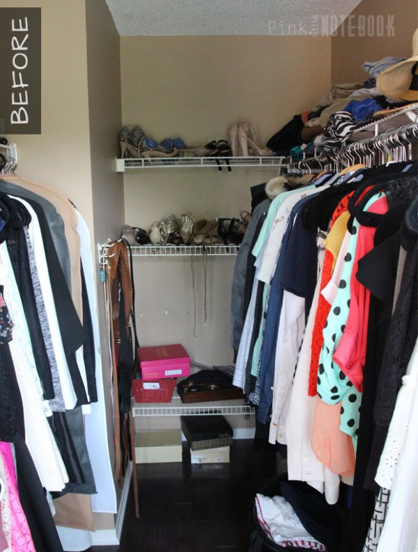Basic Walk In Closet BEFORE DIY Custom Closet Organizer, Pink Little Notebook Featured On #Remodelaholic