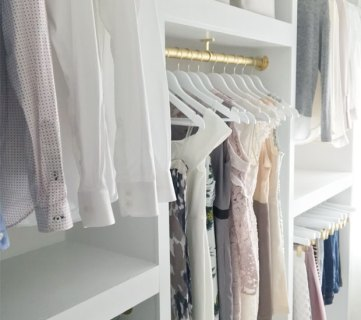 Beautiful Custom Walk In Closet Organizer, DIY From Plywood, Pink Little Notebook Featured On #Remodelaholic