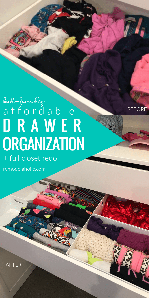 Kid Friendly Affordable Drawer Organization For A Dresser Or Built In Closet With Drawers Using IKEA Organizers #remodelaholic