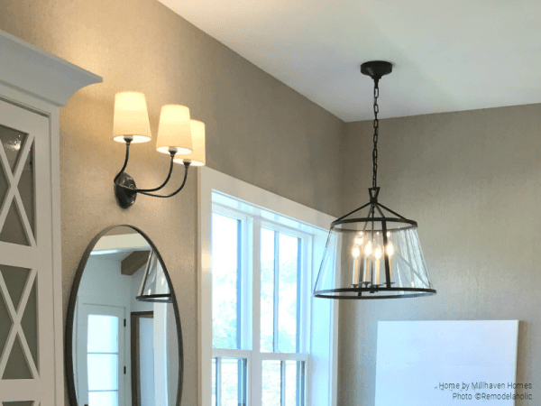 Black Metal Light Fixtures In Mixed Metals Modern Farmhouse Bathroom, Millhaven Homes And Four Chairs Design, 2018 Utah Valley Parade Of Homes Featured On Remodelaholic