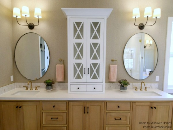 Simple Round Double Mirrors In Modern Farmhouse Master Bathroom