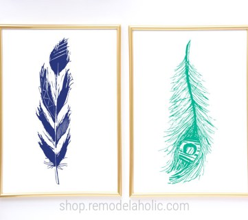 Blue And Turquoise Hand Drawn Feather Prints For Home Decor #remodelaholic