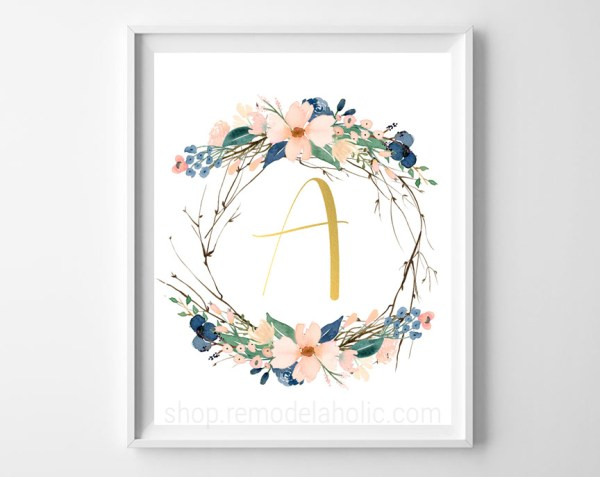 Blue Floral Twig Wreath Monogram, Printable Home Decor Art, Full Alphabet Letter Set #remodelaholic