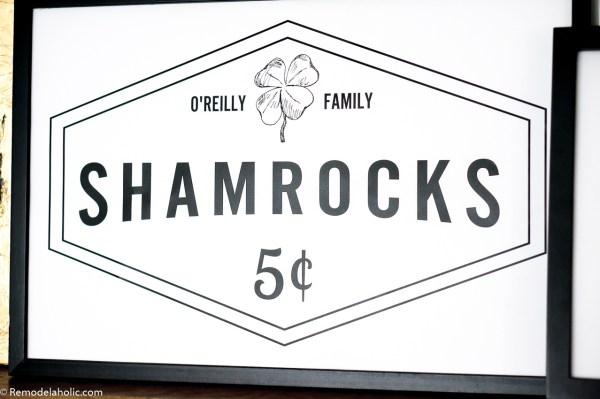 Custom Fillable Printable For St Patrick's Day Family Name Shamrocks For Sale Sign #remodelaholic #stpatricksdaydecorations