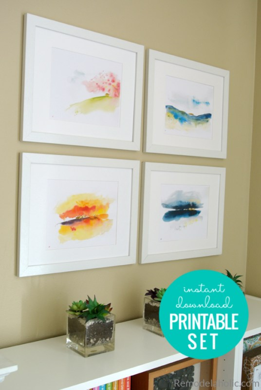 Digital Download Printable Set Of Abstract Seasonal Watercolor Landscapes For Spring, Summer, Fall, And Winter #remodelaholic