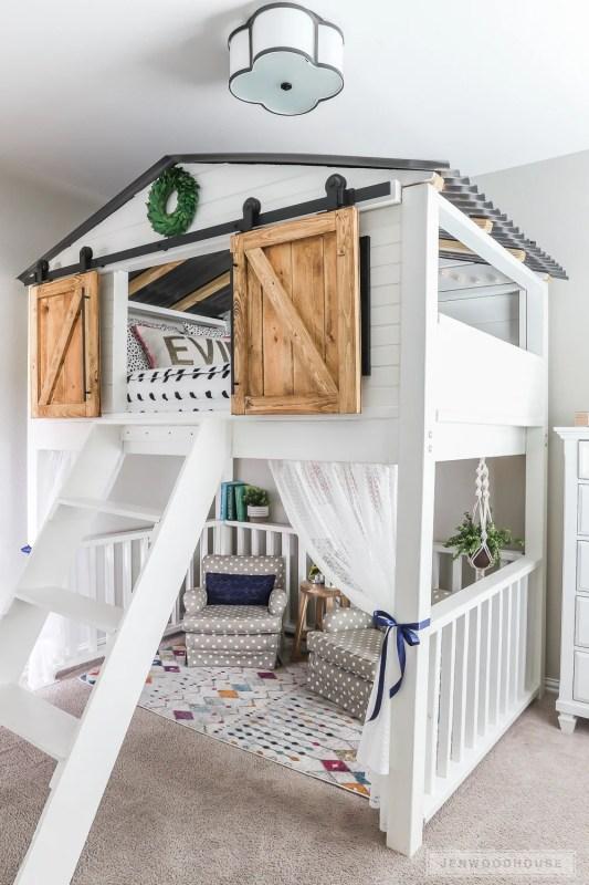 Sliding Barn Door Loft Bed 2 1
