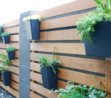 Tutorial, Modern Wood Slat Garden Wall Of Planters Using IKEA Sunnersta And Variera Kitchen Organizers, The Garden Glove Featured On Remodelaholic