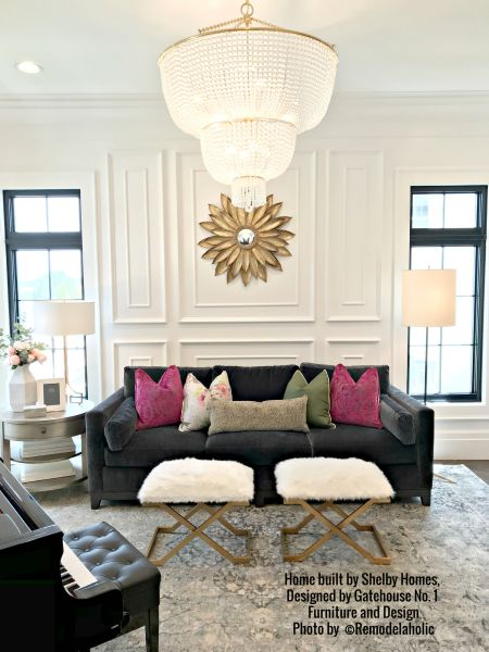 Glam Living Room With Magenta And White Home 30 Shelby Homes, Gatehouse No. 1 Furniture & Design (285).ed