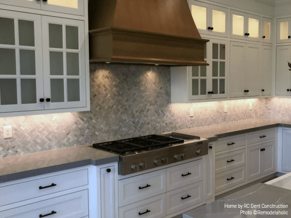 Gray Chevron Tile Backsplash In Modern Farmhouse Kitchen RC Dent Construction And Remedy Design 2018 Utah Valley Parade Of Homes Featured On Remodelaholic