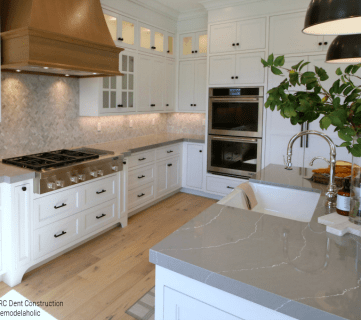Gray Kitchen Countertops In Modern Farmhouse Kitchen RC Dent Construction And Remedy Design 2018 Utah Valley Parade Of Homes Featured On Remodelaholic