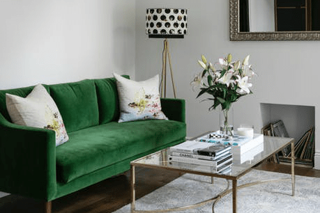 Decorate with Jade Green Velvet Couch