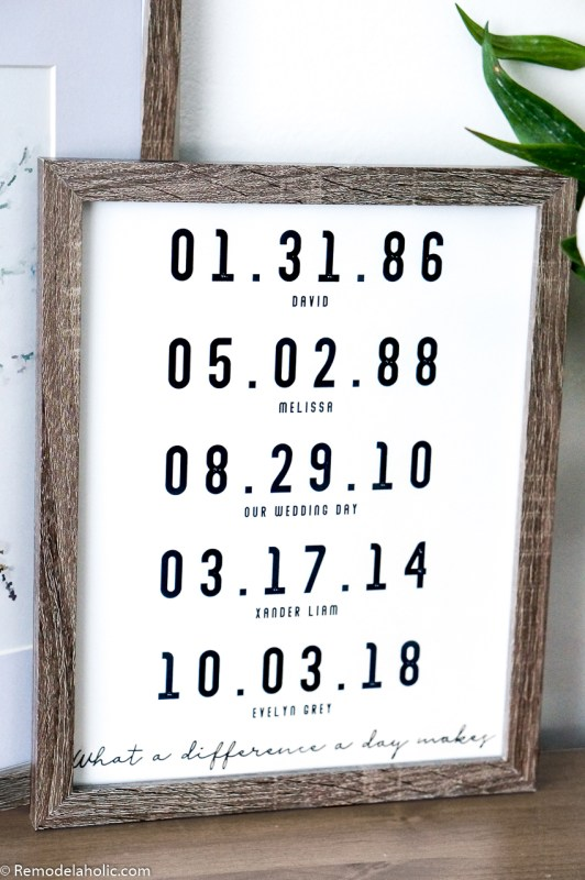 Example Custom Fillable Important Date Sign, Black and White Print in a Wood Frame