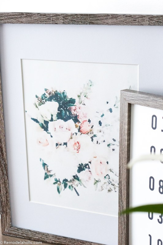 Watercolor Floral Bouquet Print with White Mat and Wood Frame