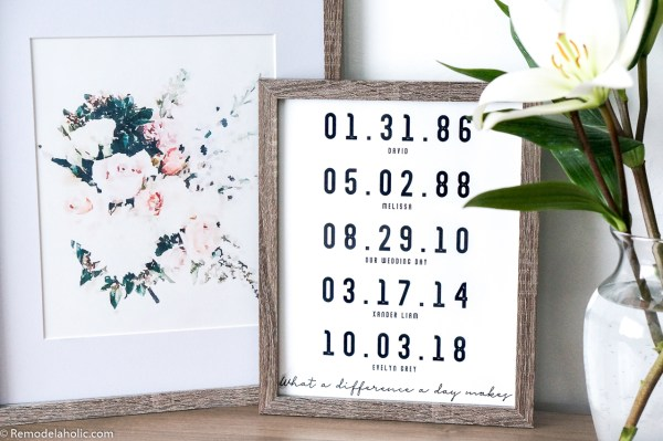 Printable Love Wall Art Idea: What A Difference A Day Makes Custom Date Printable And Floral Watercolor Bouquet Print Set in Wood Frames on Mantel with Flowers