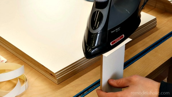 How To Iron On Edge Banding For IKEA Hack Cabinet Organizer #remodelaholic