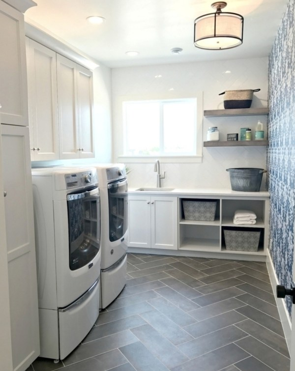 Washer And Dryer Room, Grey Herringbone Tile And Patterned Blue Wallpaper