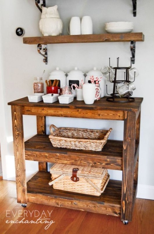 Wooden Stained Bar Cart With Beverages And Baskets