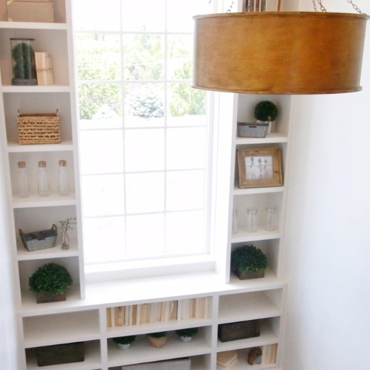 Window Lined With Built In White Shelves With Books And Plants And Vases