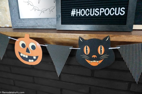 Printable Vintage Retro Jack O Lantern And Black Cat Bunting Garland Pennant For Mantel Or Party #remodelaholic