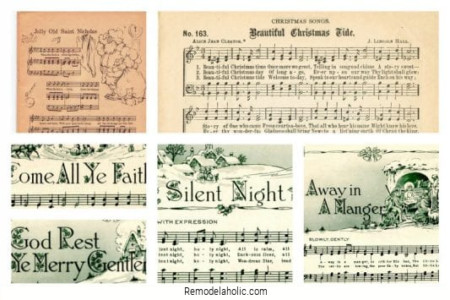 Vintage Christmas Sheet Music, Free Printables From Remodelaholic