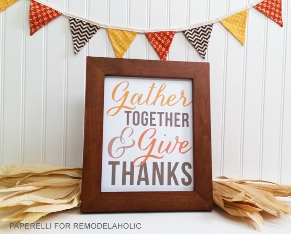 White Bead Board With Framed Text Gather Together And Give Thanks And Autumn Colored Flags