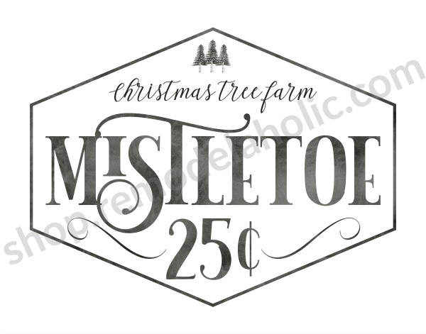 Christmas Printable, Mistletoe Christmas Tree Farm Sign #remodelaholic