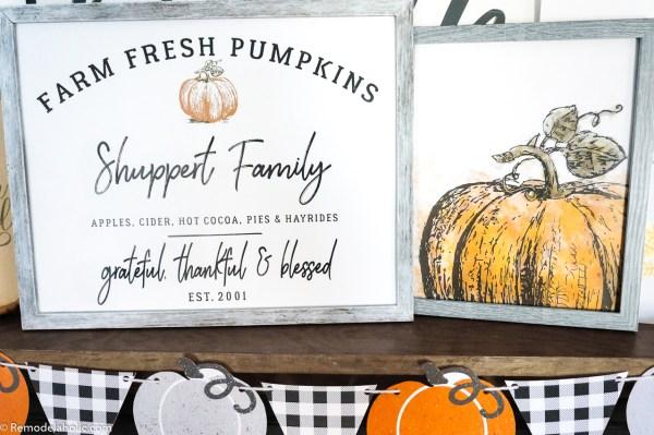 Printable Thanksgiving Decor Set, Pumpkin Farm Family Name Sign And Watercolor Pumpkin #remodelaholic
