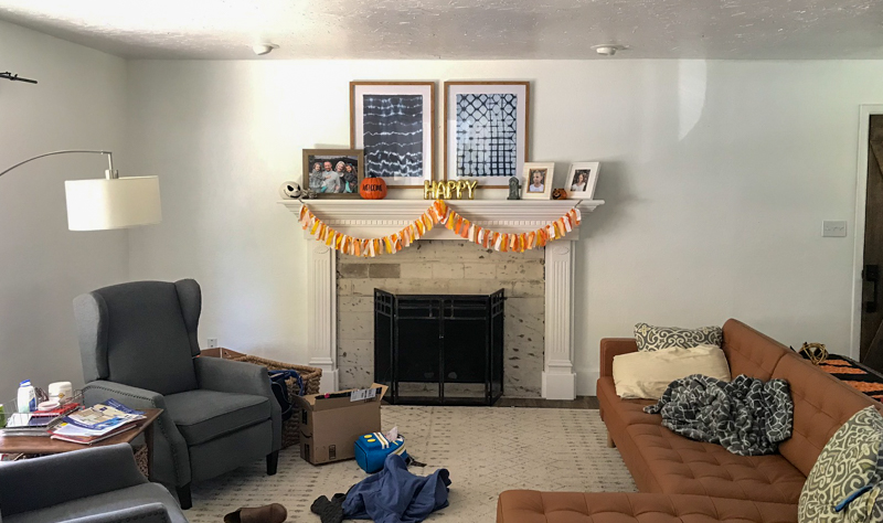 fireplace mantel before the makeover and the base image for the sketch