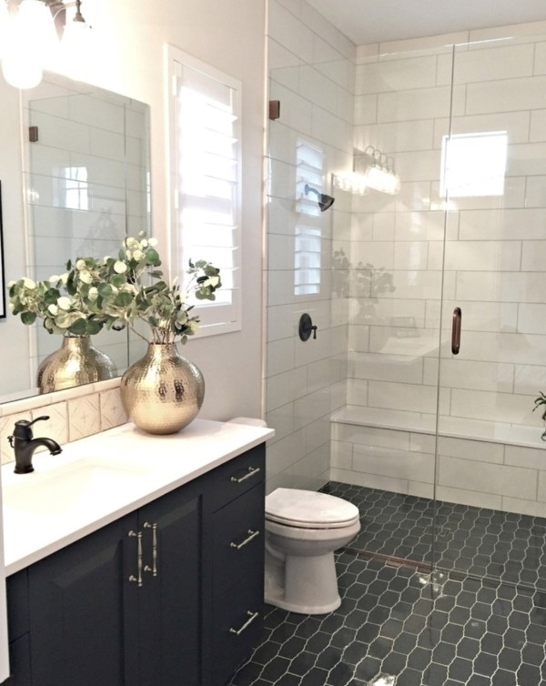 Bathroom With Tiled Floor And Walls Walk Out Shower